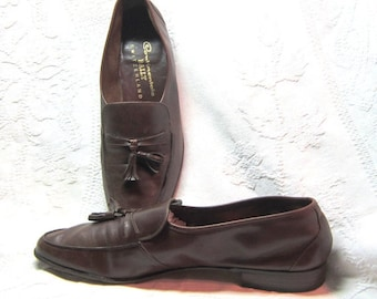 Vintage Bally Mens Leather Slip Ons Size 14 Made in Switerland Baby Soft Brown Leather Tasseled Loafers  Dress Or Casual Classic Style