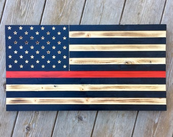 Engraved Wooden American Flag with Red Stripe