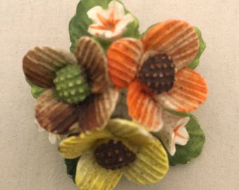 BROOCH signed Healacraft vintage FLOWER Bunch bouquet cluster English Bone China glazed pin