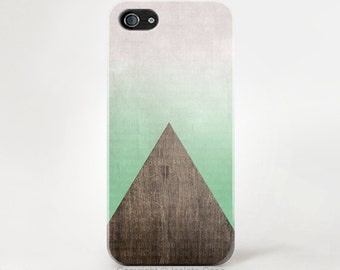 iPhone 6 case - triangle wood mint iPhone case, Geometric wood iPhone 6 iPhone 5