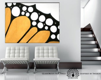 Large abstract wall art Swarovski®. Monarch butterfly painting. Large abstract painting. Large painting. Yellow painting abstract. Lydia Gee