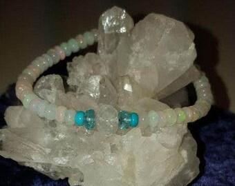 Ethiopian Welo Opal Turquoise Apatite Rainbow Moonstone Bracelet