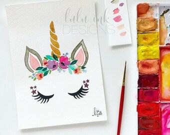Watercolor Unicorn Painting | Unicorn with Rainbow Flower Mane