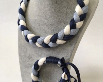 Braided linen necklace and bracelet - blue and white