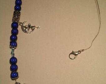 Moon and star door hanger/rear view mirror dangles with dark blue beads