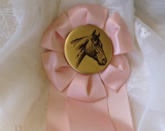 Vintage Pink Prize Ribbon Horse Show 1961 Fifth Place  Shabby Chic