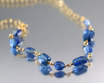 Blue Kyanite Necklace - Gold Fill - Kyanite Necklace - 19 1/2 Inches