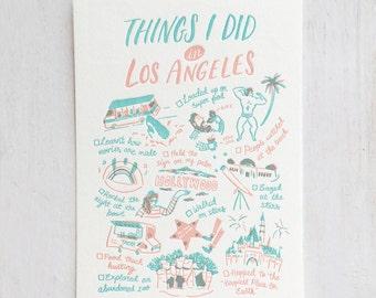 Things I Did in Los Angeles Letterpress Postcard