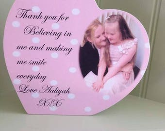 Standing Wooden Heart Photo Thank you Plaque