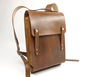 Light Brown Medium Leather Rucksack - CLEARANCE -