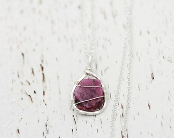 Raw Ruby Pendant | Ruby Wire Wrap | Wire Wrapped Ruby | Rough Ruby Necklace | Natural Ruby Necklace | July Birthstone Necklace