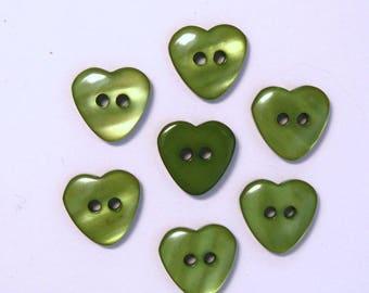 Heart 15mm set of 10 buttons: Green - 002218
