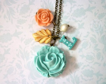 Big Rose and Charms Initial Necklace