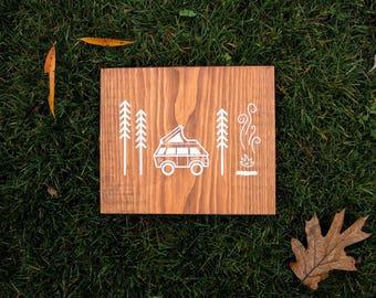 Adventure Camper Van Explore Wooden Sign