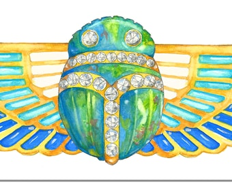 Scarab Watercolor Rendering Brooch printed on Canvas
