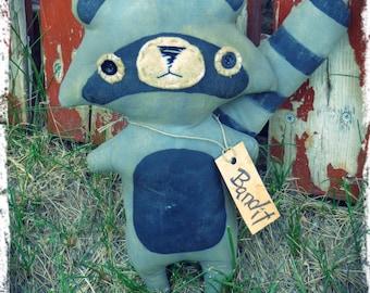 Primitive Raccoon Stuffed Animal, Primitive Folk Art Doll, Rustic Country Cabin Decor, Folkart, OFG FAAP