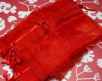 TAX SEASON Stock up 12 Pack Red Sheer Organza Drawstring Bags  Great For Halloween Time Gifts