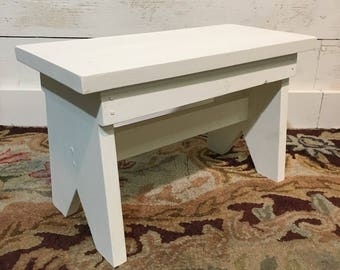 Handmade Farmhouse Style Wooden Step Stool with Linen White Milk Paint Finish