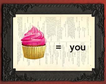 Cupcake print on vintage dictionary page, I love you wall art, cupcake artwork, pink cupcake poster, cupcake art