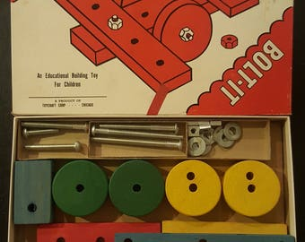 Rare Vintage 1950s Toy Bolt-It Wood Wooden Building Toy Educational Toy 50s Toycraft ~~ Boho, Classic, Traditional, Kids Childs Building Set