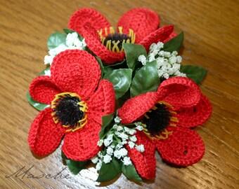 Crochet Flower candle ring poppy/gossip Rose | Red