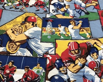 Amazing Bright Vintage Sports Bedspread Coverlet 70s Football Baseball Basketball Tennis