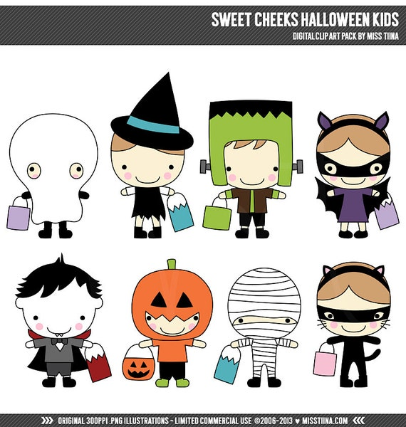 halloween kids digital clip art halloween clipart sweet cheeks rh etsystudio com Halloween Coloring Pages Cute Halloween Clip Art