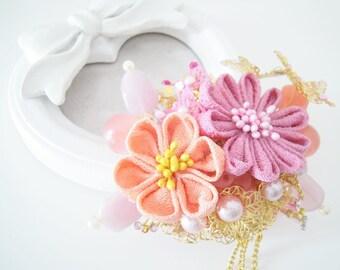 Spring is coming~Tsumami Kanzashi hair clip~bridal shower~Geisha Maiko~Chirimen Fabric~Bridesmaid gift~Kanzashi flowers