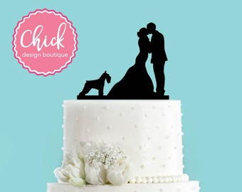 Couple Kissing with Schnauzer Dog Acrylic Wedding Cake Topper