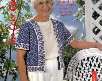 Two Color Cardigan / Knit Pattern / House of White Birches 127110