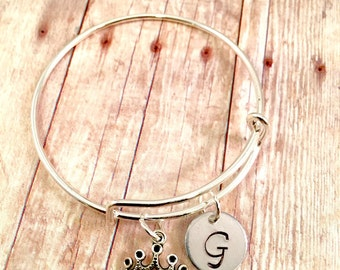 Little Girl bracelet  princess jewelry personalized initial charm bracelet  Princess charm bracelet  little girl jewelry  birthday girl