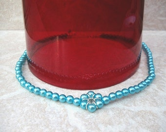 Turquoise Blue and Silver 6 Petal Full Pearl Necklace Wedding Bridal Bridesmaid Flower Girl Jewelry