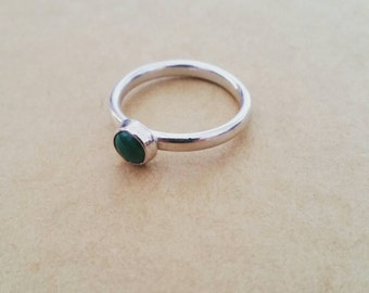 Sterling Silver Malachite Stacking Ring