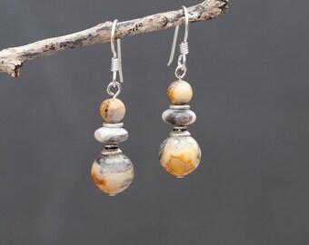 Crazy Lace Agate Earrings, Natural Stone Earrings, Ochre, Grey and Beige Earrings, Sterling Silver, Everyday Earrings, Neutral Tone Earrings