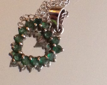 Emerald Heart Necklace 925 Silver Rare Beauty Simple Jewelry