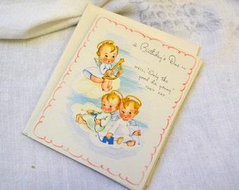 1940s NOS Angel/Devil Birthday Card with Envelope