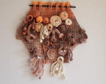 Coral Reef , Freeform Crochet Wall Hanging , Sculpture , Fiber Art , Hyperbolic crochet , Gift Idea,  Unique Home Decor, Boho Chic