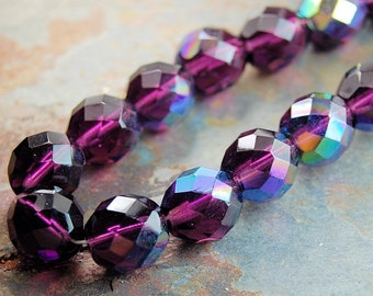 10mm Czech Beads Faceted  in AB Mulberry -10