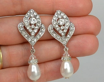 Bridal Vintage Style Crystal Earrings, Swarovski Teardrop Pearls, Swarovski Crystals, Stud Earrings, Tammy - Ships in 1-3 Business Days