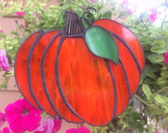 Stained Glass Pumpkin Suncatcher, Fall Sun Catcher, Autumn, Pumpkin, Harvest, Halloween, Housewarming, Fall Wedding, Sun Catcher, Honey Dew