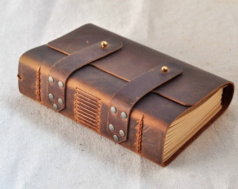Journal Diary notebook with Vintage Craft Paper good gift  Leather Journal Handmade leather books(Free stamp)
