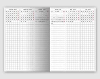B6 - 5 Year Planner - Printable Planner Insert - Traveler's Notebook - Vertical Grid - 2018 - 2022 - Minimalist
