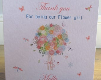 Personalised Handmade Butterfly Bouquet Thank You for Being our Flower Girl / Bridesmaid Card