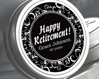 12 Decorative  Retirement Mint Tins  - RetireMints - Custom Color - Retirement Favors - Retirement Decor - Retirement Mints - Retired