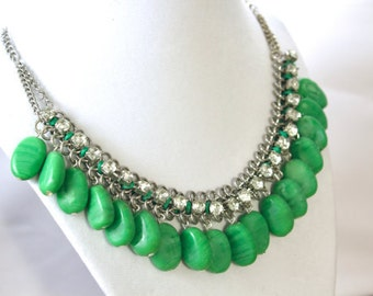 Beaded Necklace , Crystal Beaded Necklace ,  Beaded jewelry , Green Beaded  Necklace , Statement Necklace , Gift for Her