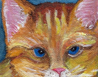 Kitty Cat mini canvas art, easel, miniature painting of orange cat, cat decor, cat artwork, small cat art acrylic painting
