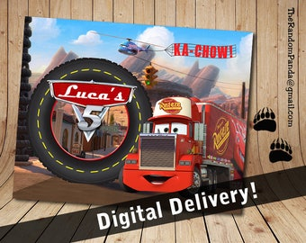 Personalize Kids Poster, Mack Truck Poster, Disney Cars Party Wall Art