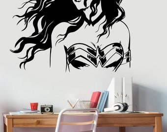 Wonder Woman Wall Decal Vinyl Sticker Marvel Comics Girl Superhero Art Decorations for Home Housewares Living Kids Room Bedroom Decor wmv1