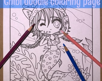 Chibi Selfie mermaid Doodle Anime Manga Coloring Page for Adult Coloring PDF download by JennyLuanArt