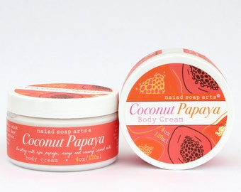 NEW- Coconut Papaya Whipped Shea Butter Body Cream - anti-oxidant rich - Vegan and Cruelty Free - 95% natural